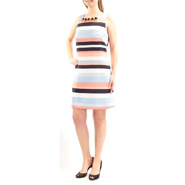 VINCE CAMUTO Womens Orange Beaded Striped Sleeveless Jewel Neck Above The Knee Dress Size: 10