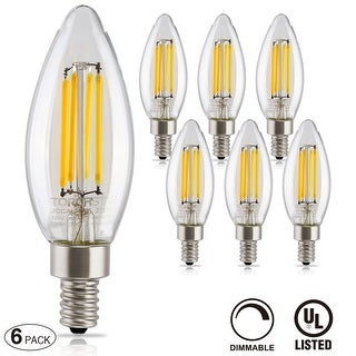 6 PACK LED Filament Candelabra Bulb, 4.5W (60W Equiv.), UL-listed Vintage Style, Soft White