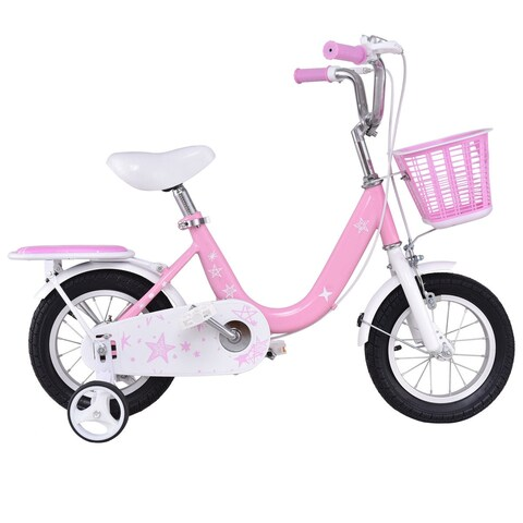 Costway 12'' Kids Bike Bicycle Children Boys & Girls with Training Wheels and Basket Pink