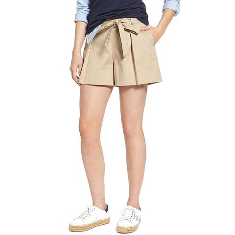 1901 NORDSTROM Beige Women's 16 Pleated Belted Khaki Chino Shorts