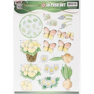 Find It Jeanine's Art Garden Classics Punchout Sheet-Potted Plant, Butterflies, Bulbs, Tools