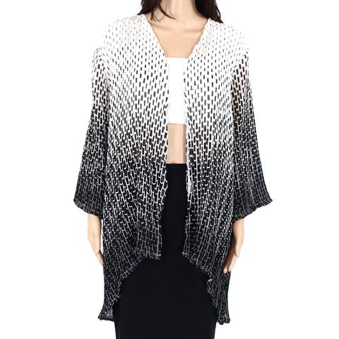 Erin London Womens Sweater Black White Large L Geometric Plisse Cardigan