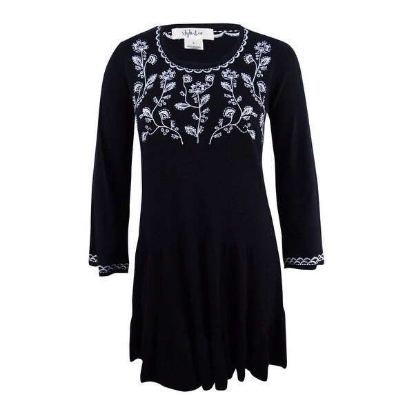 36bfd26972c7a Style & Co Women's Embroidered Sweater Dress (L, Deep Black) - Deep Black -  L