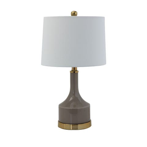 Taupe Glass Lamp with Gold Metal Base & Linen Shade (Set of 2 Lamps)