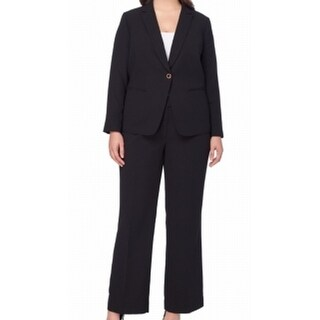 Tahari by ASL NEW Black One-Button Career 16W Plus Pant Suit Set