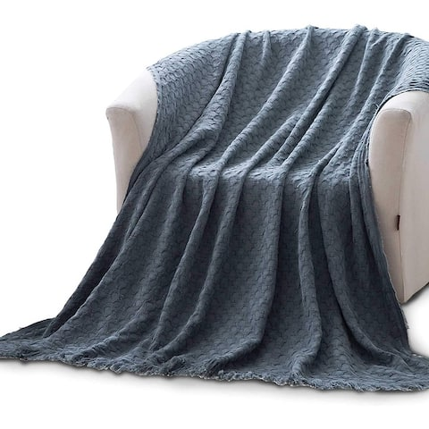 """Soft Cotton Shawl Knitted Reversible - 50""""x60"""""""