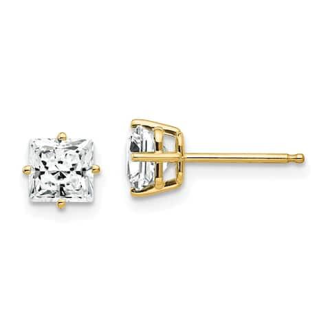 14K Yellow Gold 5mm Cubic Zirconia Earrings by Versil