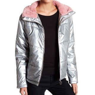 Abound NEW Silver Pink Faux-Fur Women's Medium M Quilted Puffer Jacket