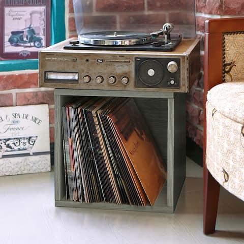Way Basics Vintage Vinyl Storage Blox Cube Turntable Stand Organizer Shelf - Fits 65-70 LP Records, Grey