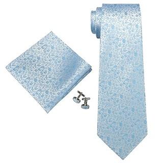 Men's Light Blue Floral 100% Silk Neck Tie Set Cufflinks & Hanky 1827C - regular