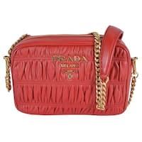 9dd9957dc1f2 Shop Prada 1BC052 Baltico Soft Leather Daino Stripe Strap Crossbody ...