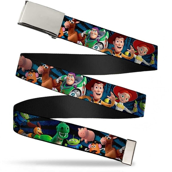 Blank Chrome Buckle Toy Story Characters Running Denim Ray Webbing Web Belt