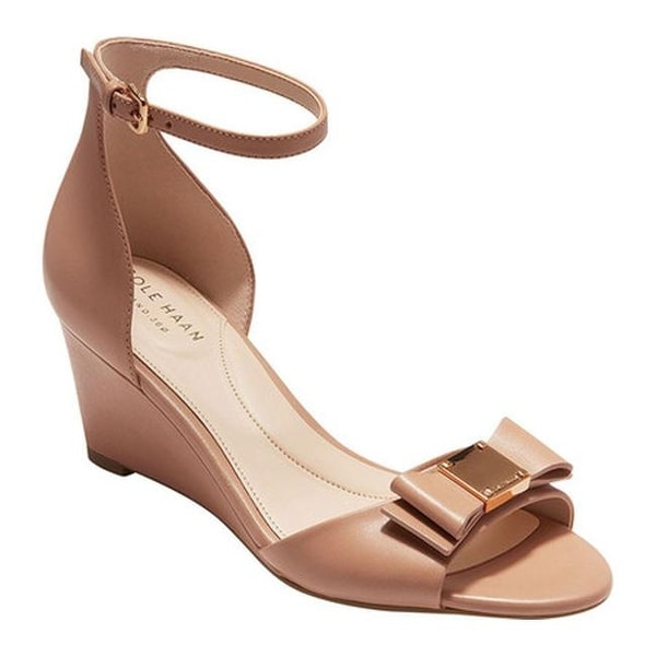 6cee0f0adf7 Shop Cole Haan Women's Tali Grand Bow Wedge Sandal Chestnut Nude ...
