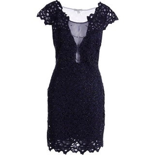 Alberto Makali Womens Lace Mesh Inset Cocktail Dress - 8