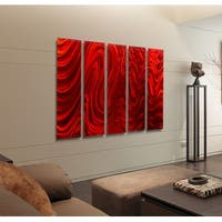 Statements2000 Huge Red 5 Panel Metal Wall Art Painting by Jon Allen - Red Hypnotic Sands Epic