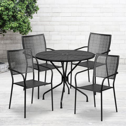 "35.25"" Round Black Indoor-Outdoor Steel Patio Table Set w/ 4 Square Back Chairs"