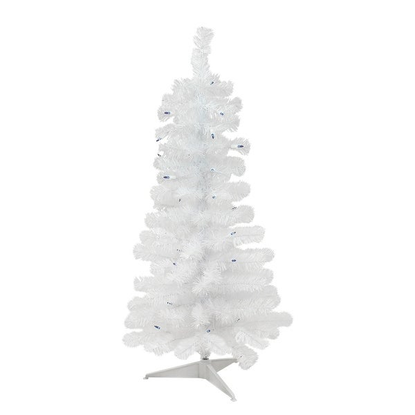 3 Pre Lit White Pine Slim Artificial Christmas Tree Blue Lights 3 Foot