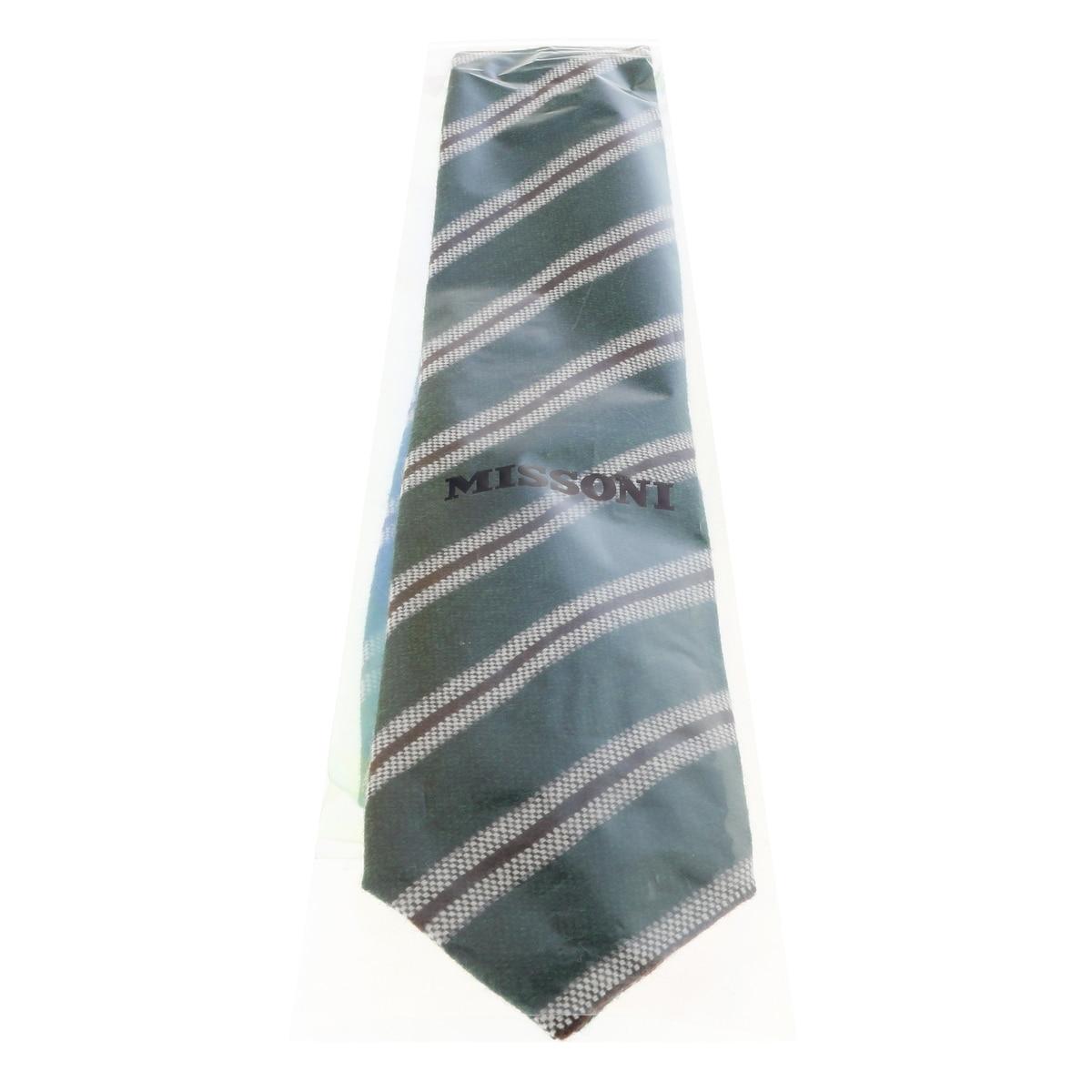 Missoni U5145 Grey//Navy Regimental 100/% Silk Tie for mens