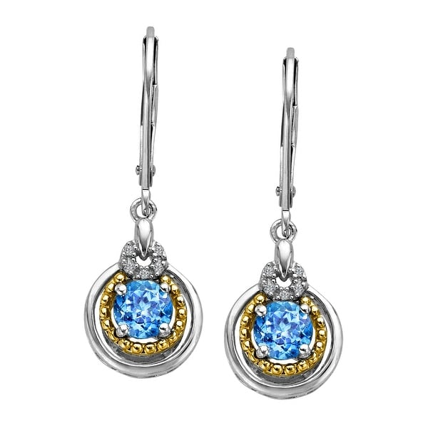 1 1/4 ct Natural Swiss Blue Topaz Earrings with Diamonds in Sterling Silver and 14K Gold