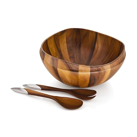 Savora Acacia Wood Serving Bowl with Stainless Steel Accented Servers
