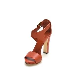 Gucci Women's Leather Open Toe High Heel Orange