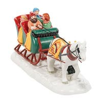 "Department 56 Snow Village ""Sleigh Ride"" Ceramic Accessory #4036584 - WHITE"
