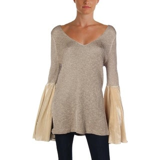 Free People Womens Juniors Sweater Metallic Bell Sleeves