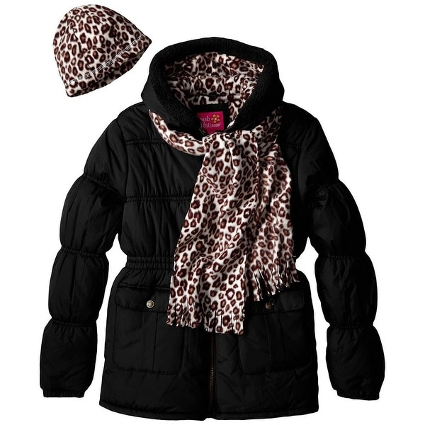 5bc55d4303dd Shop Pink Platinum Girls 4-6X Cheetah Print Puffer Scarf Set - Free  Shipping On Orders Over $45 - Overstock - 26267944