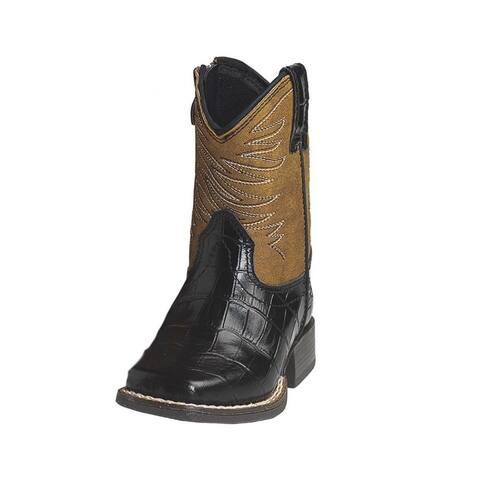 Ariat Western Boots Boys Fire Catcher Croco Print Zip Black