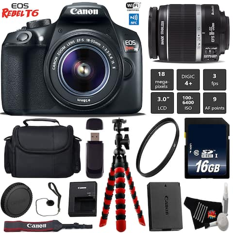 Canon EOS Rebel T6 DSLR Camera with 18-55mm IS II Lens + Professional Case + Bundle 4
