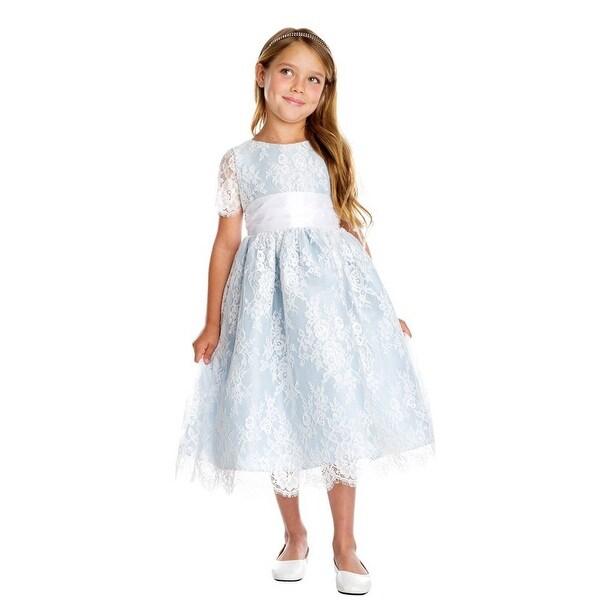 Shop Sweet Kids Girls Blue French Lace Dupioni Junior Bridesmaid ... 76c3cdd9103a