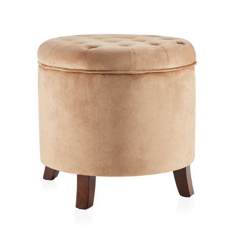 Belleze Round Nailhead Trim Tufted Storage Ottoman