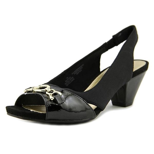 Bandolino Ryker Women Open-Toe Canvas Black Slingback Heel