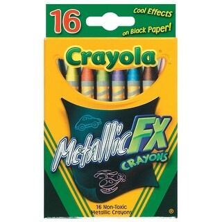 Crayola Metallic FX Non-Toxic Regular Crayon, 5/16 X 3-5/8 in, Assorted Metallic Color, Pack of 16