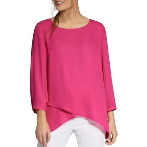 Basler Womens Blouse Overlay Keyhole Back - Pink
