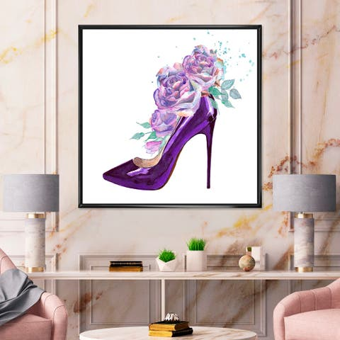 Designart 'Dark Purple Stiletto Shoe With Pink VIolet Roses' Traditional Framed Canvas Wall Art Print