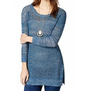 Lucky Brand Marled Open Stitch Pullover Sweater - xL