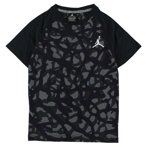 Jordan Boys Camo Elephant Print T Shirt Black - black/deep purple/grey