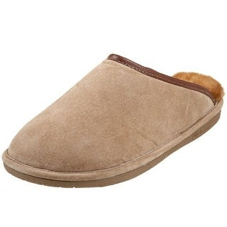 Old Friend Mens Suede Fleece Lining Scuff Slippers - S