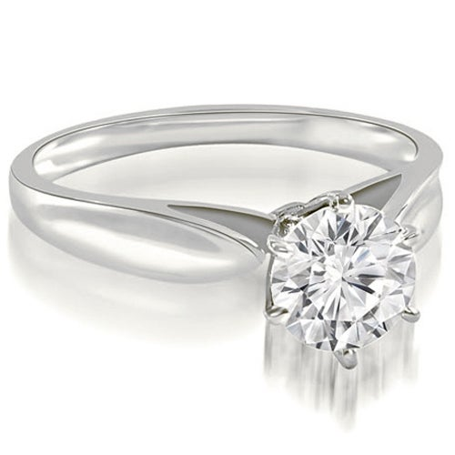 0.50 cttw. 14K White Gold Cathedral Solitaire Round Cut Diamond Engagement Ring