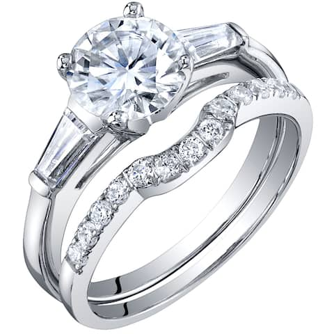 1.5 Carat Moissanite Solitaire Engagement Ring Wedding Band Bridal Set in Sterling Silver