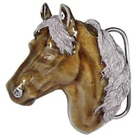 Enameled Horsehead Belt Buckle