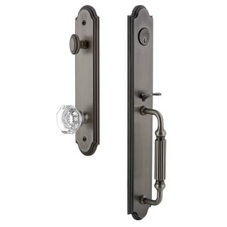 "Grandeur ARCFGRCHM_ESET_234  Arc Solid Brass Rose Keyed Entry Single Cylinder Full Plate ""F"" Grip Handleset with Chambord"