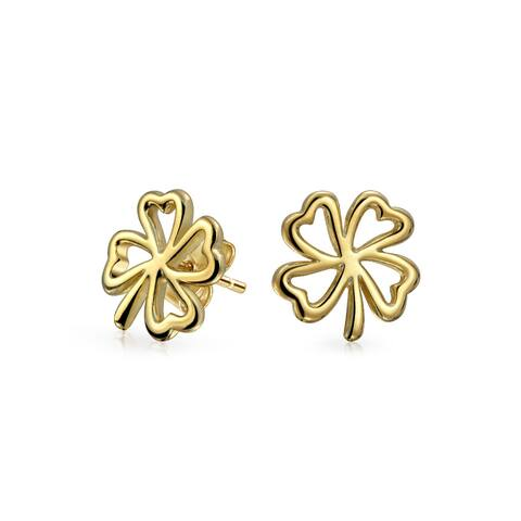 Heart Shaped Four Leaf Clover Lucky Irish Stud Earrings For Women 14K Gold Plated 925 Sterling Silver (11MM)