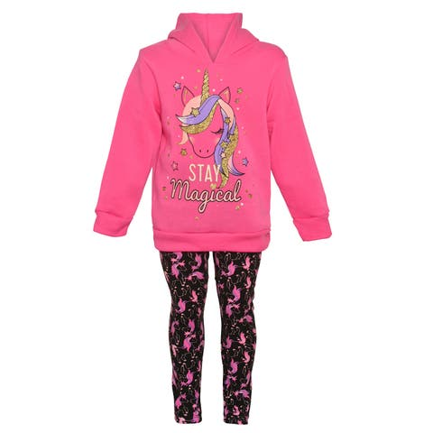 Girls Pink Little Girls Fuchsia Unicorn Hooded Sweatshirt Leggings Outfit