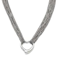 Chisel Stainless Steel Multi Strand Polished Heart Toggle Necklace (1.5 mm) - 17 in