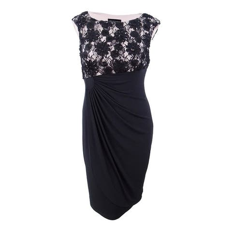 Connected Women's Floral Lace Jersey Dress - Black/Light Blush