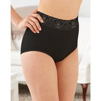 Bali Lacy Skamp Brief Panty - Size - 8 - Color - Black