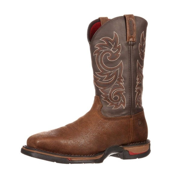 """Rocky Western Boots Mens 12"""" Long Range ST WP Pull On Coffee"""