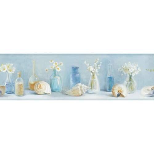 Brewster DLR53601B Cahoon Blue Sea Glass Border Wallpaper